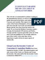 Giorgi Leon Kavtaradze Centre of Caucasian & Anatolian Studies