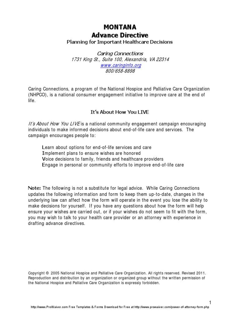 Montana Advance Health Care Directive Form 1 Palliative Care