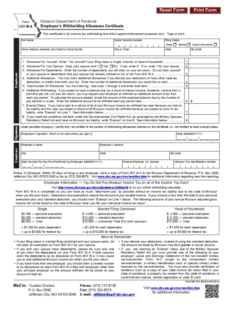 Missouri Form Mo W 4 Withholding Tax Tax Deduction