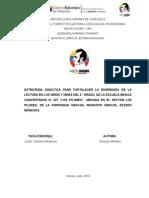 PROYECTO DE APRENDIZAJE LECTO-ESCRITURA SEGUNDO GRADO DE EDUCACION PRIMARIA