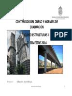 00-Normas de evaluación del curso Estructuras II 2° semestre de 2014