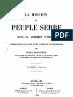 La Mission du Peuple Serbe ; dans la Question d`Orient ; Considerations sur le Passe et sur l`Avenir des Pays Balkaniques (1886.) - Stojan Bochkovitch