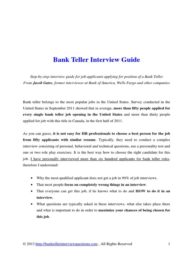 Bank Teller Interview Guide