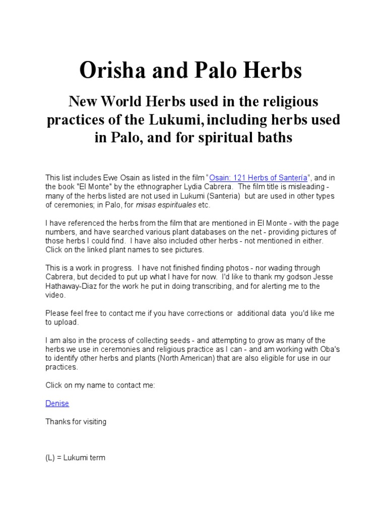 Orisha and Palo Herbs