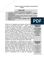Practical Analysis of Sentence Structures in Workplace Communication II Writing
