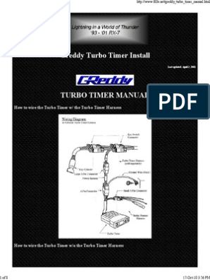 Greddy Turbo Timer Installation Manual Switch Manufactured Goods