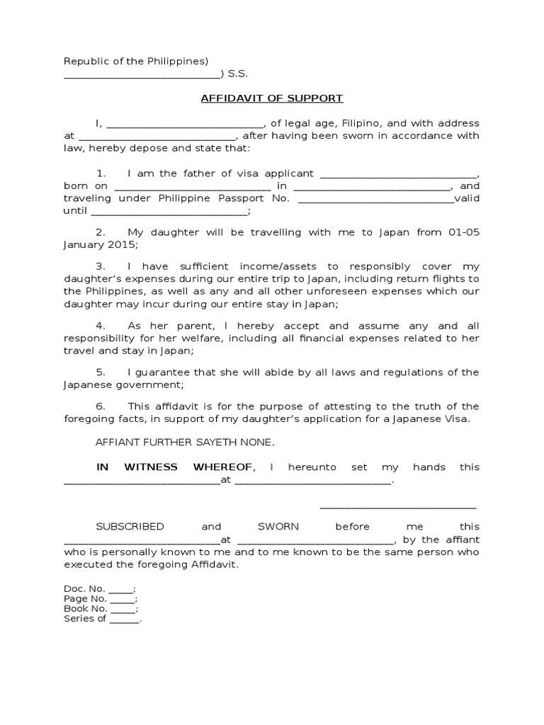 affidavit of support letter for visitor visa affidavit of support philippines 27882