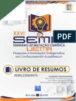 LIVRO DE RESUMOS - XXVI SEMINÁRIO DE INICIAÇÃO CIENTÍFICA – SEMIC Pesquisa e Inovação Integradas ao Conhecimento Acadêmico