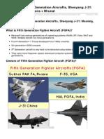 Mrunal.org-Diplomacy Fifth Generation Aircrafts Shenyang J31 Meaning Implications Mrunal