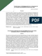 Evaluación de Métodos para la Determinacion de la CIC de Suelos