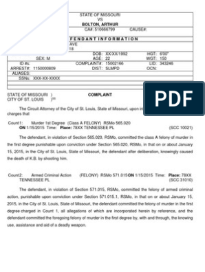 Arthur Bolton Probable Cause Statement | Probable Cause | Felony