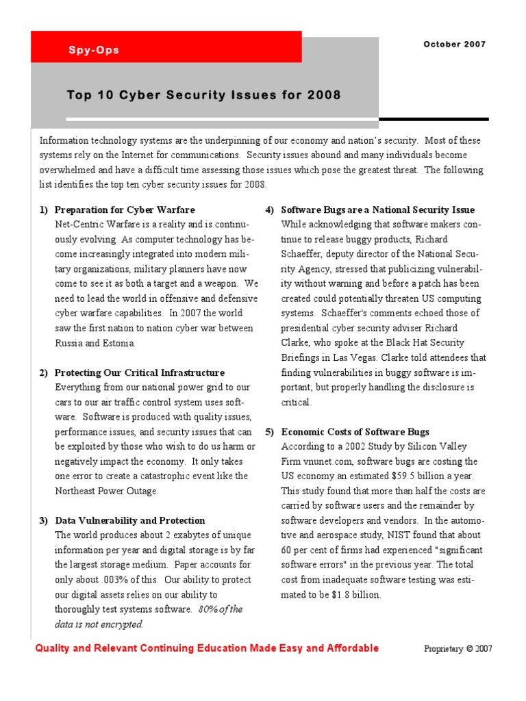 Spy Ops Top 10 Cyber Security Issues Oct 07 | Online Safety