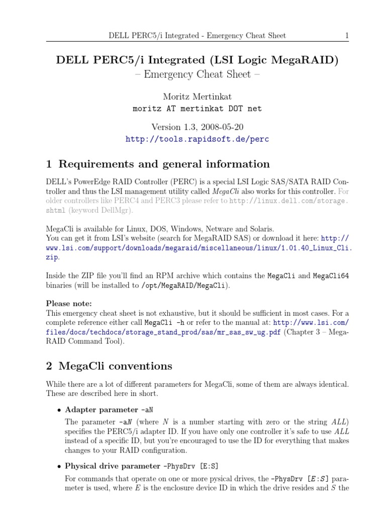 DELL PERC5/i Integrated - Emergency Cheat Sheet | Zip (File