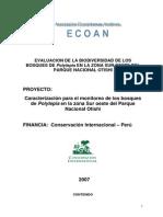 Evaluacion de la Biodiversidad de los bosques de Polylepis en la Zona Sur Oeste del Parque Nacional Otishi
