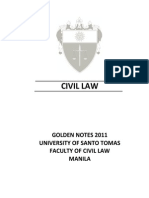 UST Golden Notes 2011 Civil Law Table of Contents