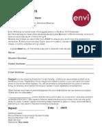 Envi O-Camp Rego Form 2015