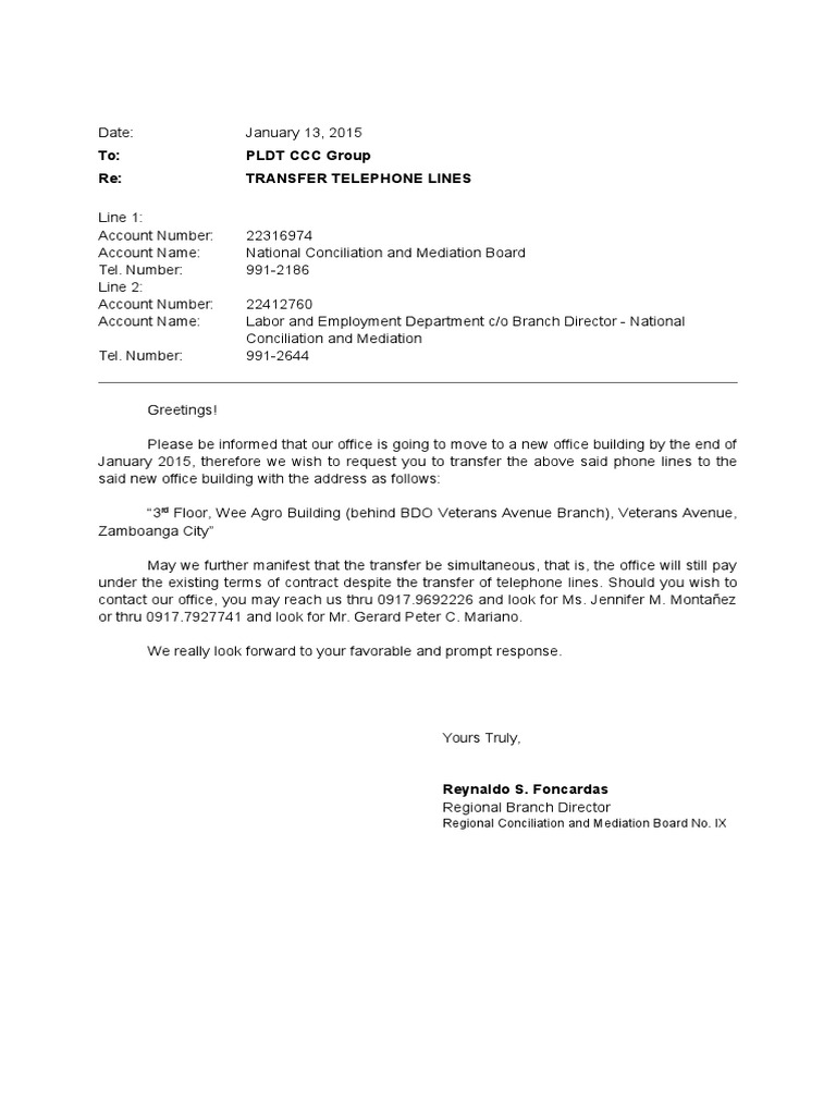 Letter of Request for Transfer of Lines Pldt – Letter of Request
