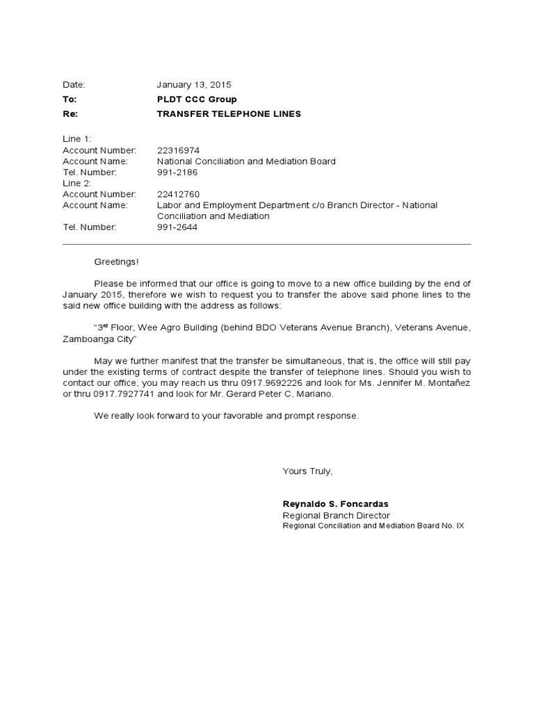 Letter of request for transfer of lines pldt spiritdancerdesigns Gallery