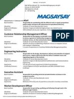 Magsaysay - Job Opening