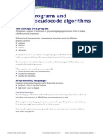 Programs and Pseudocode Algorithms