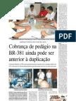 2010.01.17 - Pedágio pode ser anterior à duplicação - Jornal Vale do Aço