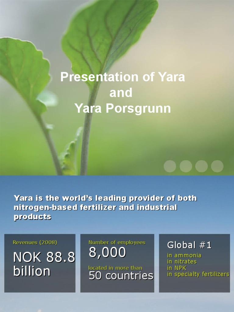 Presentasjon+Yara +Alf+Tangvald+pps | Fertilizer | Chemical