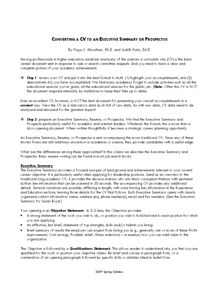 Converting A Cv To An Executive Summary Pdf Resume Doctor Of