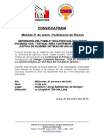 Convocatoria Conferencia de Prensa para este 20.01.15