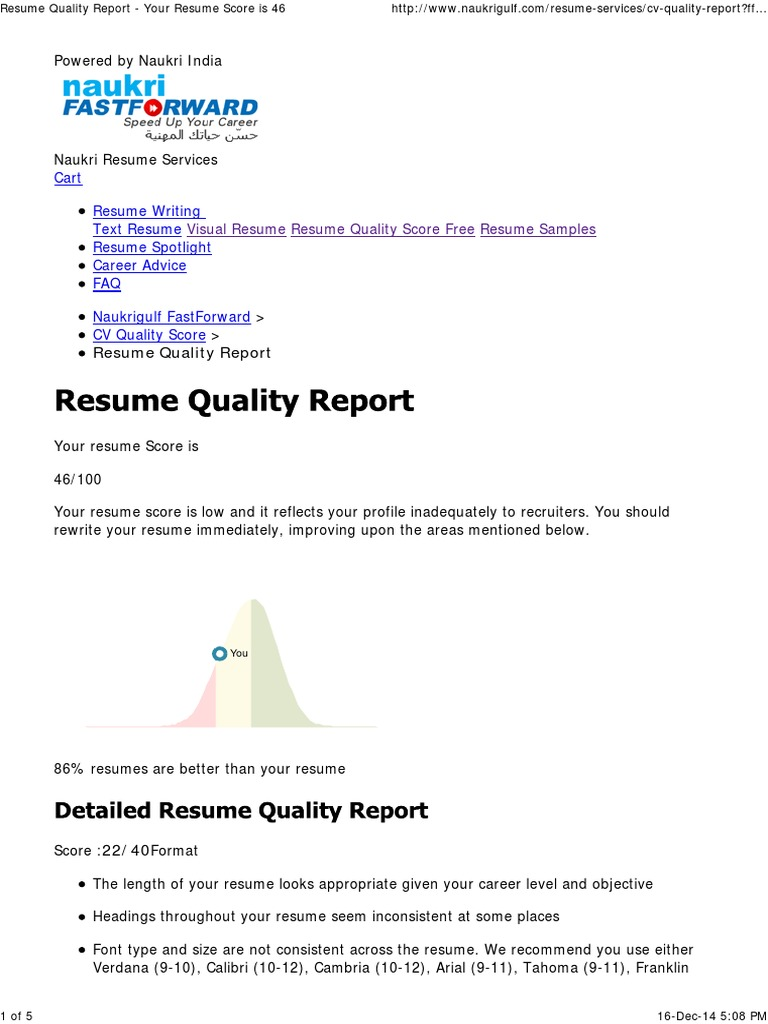 resume quality report your resume score is 46 pdf résumé