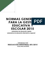 Normas Generales Para La Gestión Educativa y Escolar 2015