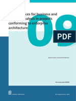 Best practices for business and systems analysis in projects conforming to enterprise architecture
