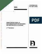 Covenin-Iso Tr 10013-2002. Directrices Para La Documentacion
