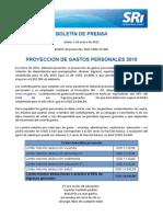 INFORMACION PARA PROYECCIO´N DE GASTOS PERSONALES 2015