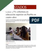 19-01-2015 Milenio.com - Crece 27% Cobertura en Educación Superior en Puebla en Cuatro Años