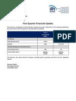 235.ASX ILH Oct 22 2014 First Quarter Financial Update
