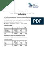 240.ASX ILH Nov 25 2014 AGM Results
