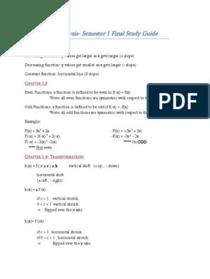 Math Analysis Semester 1 Final Review Doc | Trigonometric Functions