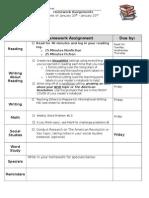 homework sheet mon-fri