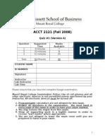 Acct 2121 Fall 2008 Quiz 1 Ver a(1)