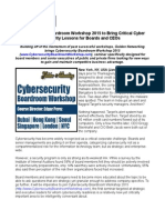 Cybersecurity Boardroom Workshop 2015 to Bring Critical Cyber Security Lessons for Boards and CEOs