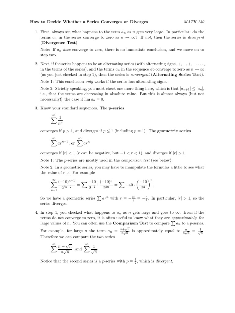 Tests for Convergence (Calculus) | Limit (Mathematics