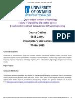 Course Outline - ELEE 2250U - Winter 2015 - Winter 2015
