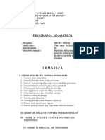 Programa Analitica Drept Penal Special