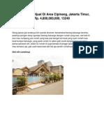 Iklan Rumah Dijual Di Area Cipinang, Jakarta Timur, Rp. 4,800,000,000, 13240 - Www.rumahku.com
