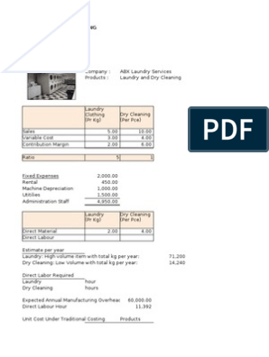 Management Accounting - Laundry Services   Cost   Management
