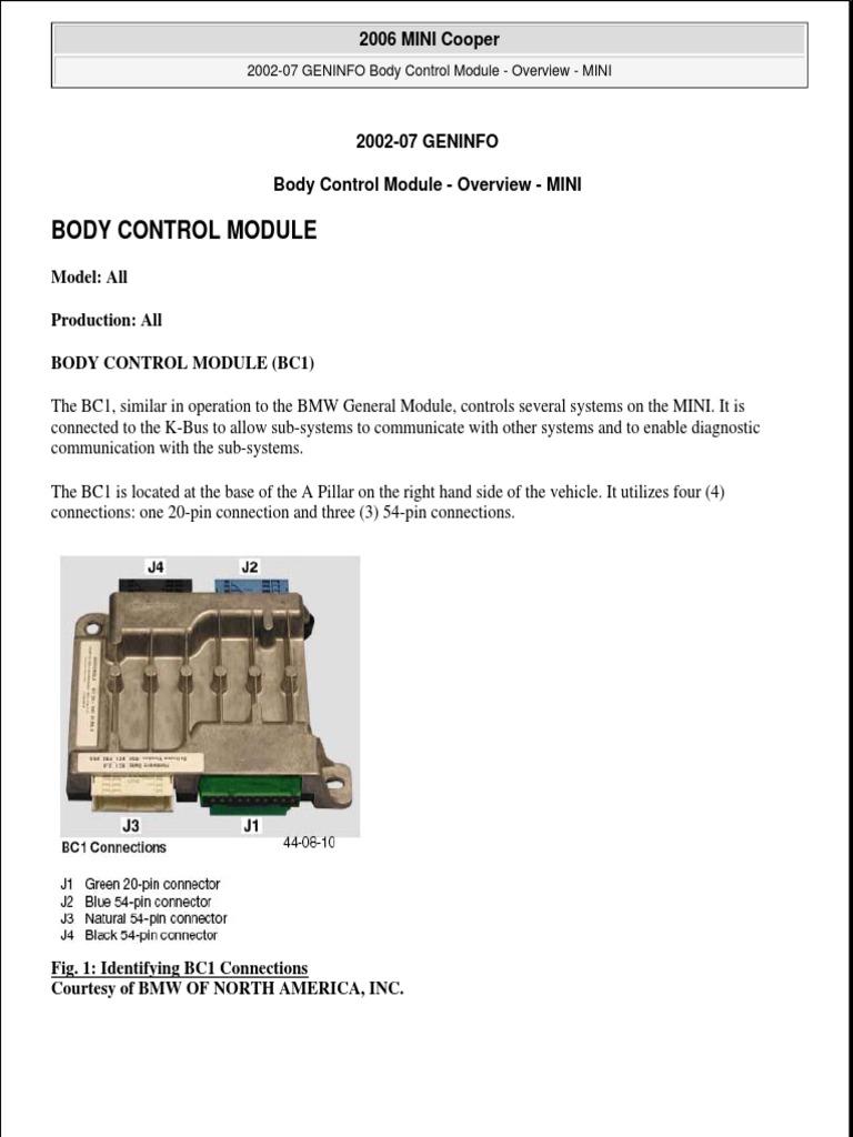 body control module mini cooper headlamp relay rh scribd com Mini Cooper R56 Engine Diagram Mini Cooper Warning Lights Diagram