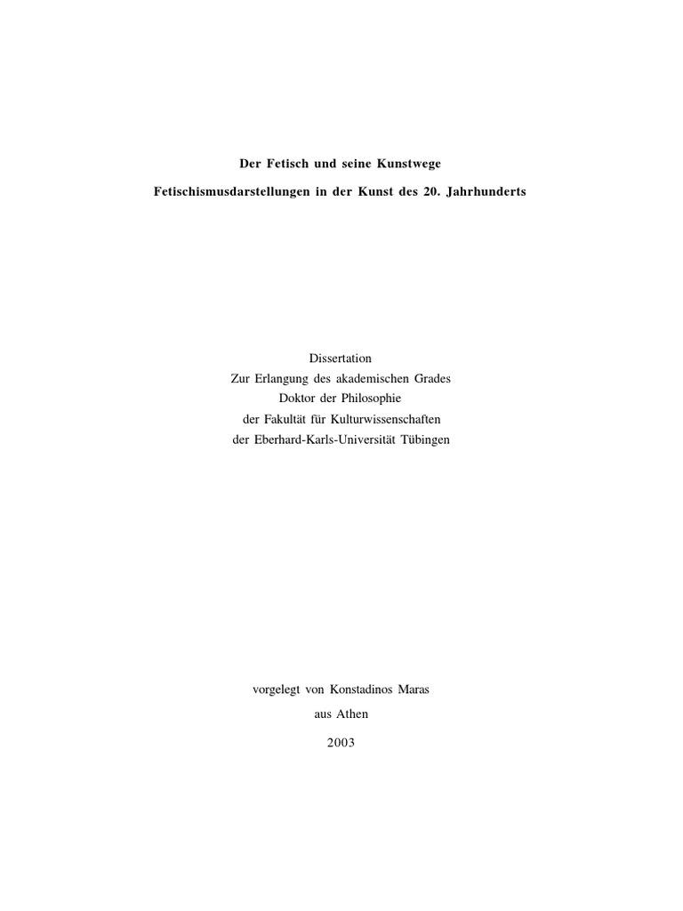 Der Fetisch Und Seine Kunstwege - Fetischismusdarstellungen in Der ...