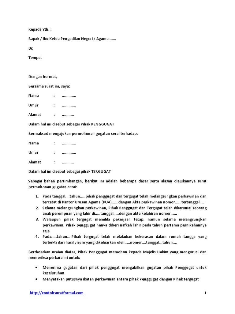 Contoh Surat Pernyataan Cerai Atau Gugatan Ceraipdf