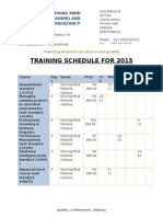 Training Calender for 2015