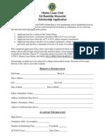 Olathe Lions Scholarship Application 2015
